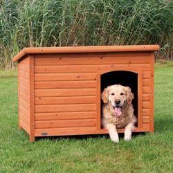 Drewniana, sosnowa buda dla psa z płaskim dachem - jasny brąz - rozmiar L