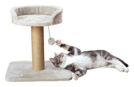 Drapak z legowiskiem na górze i piłką dla kota