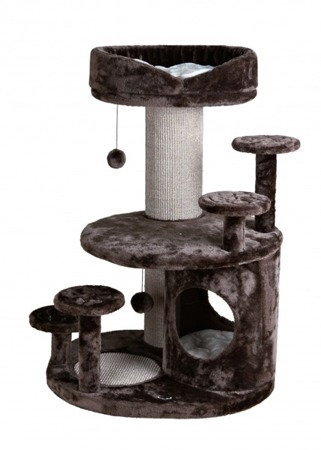 Rozbudowany drapak dla kota z budką i legowiskiem - brąz