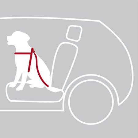 Szelki do samochodu w komplecie z pasem bezpieczeństwa dla małego psa czarne rozmiar XS