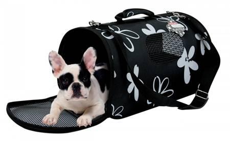 Torba do noszenia i transportu małych psów, kotów i małych zwierząt Średnia Czarna w kwiaty