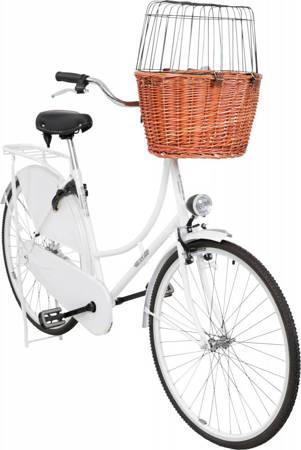 Wiklinowy kosz na rower z dodatkowym zamknięciem naturalny